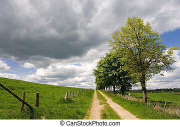 Landscape with nature path - Landscape with sand path and...