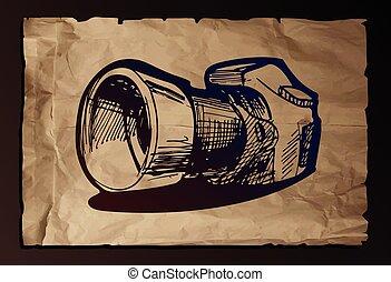 illustration of camera on old paper