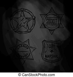Sheriff stars. - Vintage sheriff and marshal badges set on...