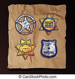Sheriff stars on old paper background. - Vintage sheriff...
