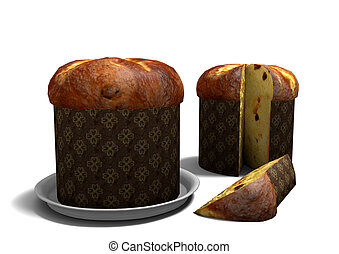 3D Panettone on white background - Rendering of two...