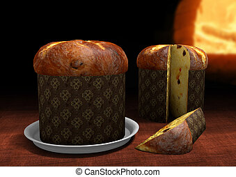3D Panettone with an oven on the ba - Rendering of two...