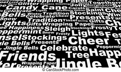 Christmas words across loop - Black and white scrolling...