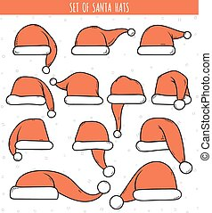 Set of 12 red doodle hats Santa Claus