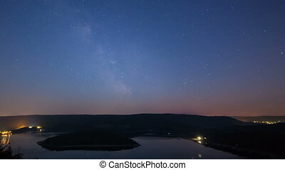 Milkyway Above Lake Timelapse - Timelapse sequence of the...