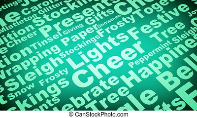 Christmas words green BG loop - Holiday Christmas words...