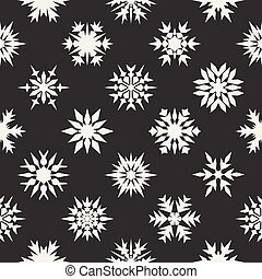 Vector Seamless Black and White Snow Flakes Ornaments Pattern