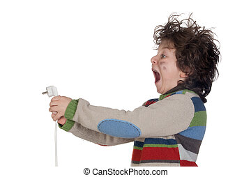 Child plug receiving electric shock isolated on white...