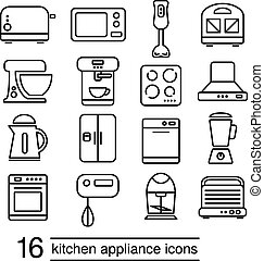 vector kitchen appliance icons