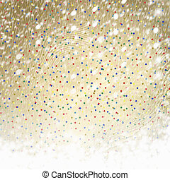Abstract gold paper background with multicolored confetti...