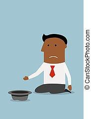 Businessman begging for money with hat - Kneeling bankrupt...