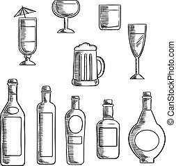 Bottles and glasses of alcohol beverages sketch - Wine,...