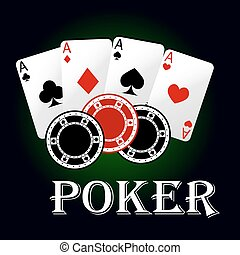 Poker symbol with aces and gambling chips