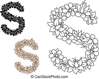 Letter S composed with pattern of flowers