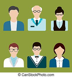 Teacher profession avatars and icons in flat style - Teacher...