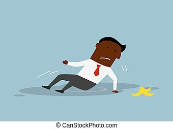 Cartoon businessman slipped on a banana peel - Cartoon upset...