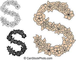 Letter S with vintage floral motifs - Brown floral letter S...