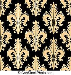 Floral seamless pattern with fleur-de-lis elements