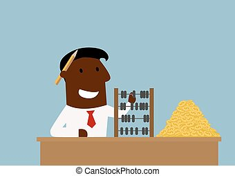 Happy cartoon businessman with money and abacus