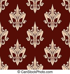 Beige and brown floral seamless pattern - Fleur-de-lis...