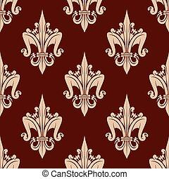 Beige and brown floral seamless pattern - Fleur-de-lis...