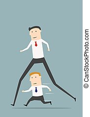 Businessman with long legs winning competition - Cartoon...