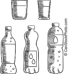 Soda, glasses and mineral water bottles sketch