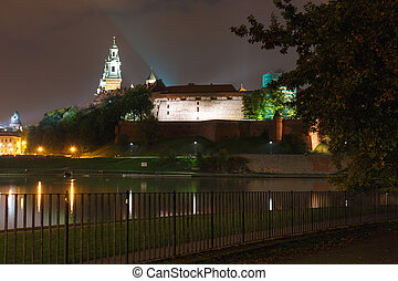 Night view of Royal Wawel castle, Poland
