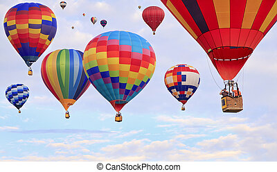Multicolored hot air balloons flying, Saint Jean sur...