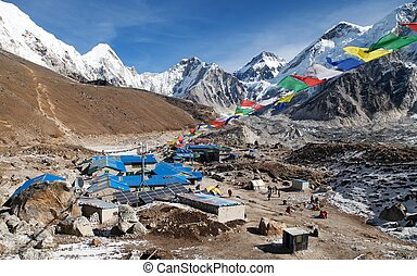 Gorak Shep village with prayer flags, way to Kala Patthar...
