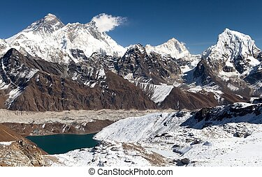 Panoramic view of Everest, Lhotse, Makalu and Gokyo Lake...