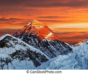 Evening colored view of Mount Everest from Kala Patthar,...