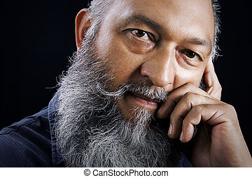 Male portrait - Stock image portrait of Man with long beard...