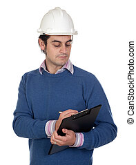Engineer with white helmet on a over white background