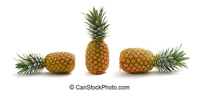 Pineapples - Three pineapples studio isolated on white...