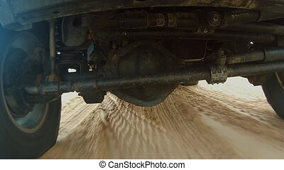 Camera car in the sahara desert - A camera is mounted on the...