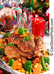 roasted chicken with vegetables for christmas - roasted...