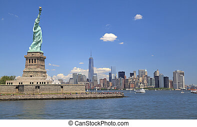 Statue of Liberty and New York City - Statue of Liberty,...