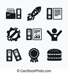 Accounting icons Document storage in folders - Award...
