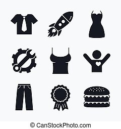 Clothes signs. T-shirt with tie and pants.