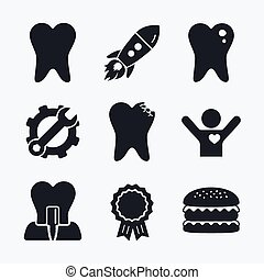Dental care icons Caries tooth and implant - Award...