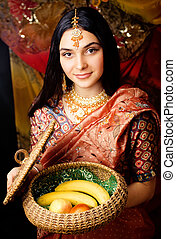 beauty sweet real indian girl in sari smiling on black background close up inosent purity