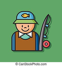 fisherman fishing vector icon