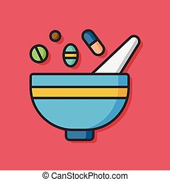 herbal bowl medicine vector icon