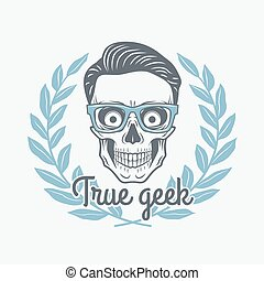 True geek skull vector with hipster glasses and laurel leafs. Crazy deadman insignia template. Smiling skeleton badge design. Jolly student label.