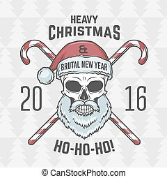 Bad Santa Claus biker with candies print design. Vintage Heavy metal Christmas portrait. Rock and roll 2016 new year t-shirt illustration.