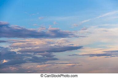 hermoso, crepúsculo, cielo, nube