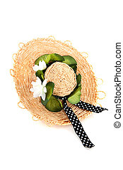 straw summer had - straw summer hat with flowers and ribbon