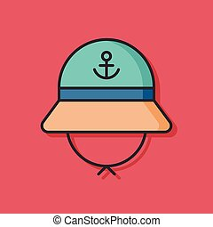 fisherman hat vector icon
