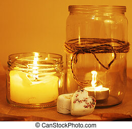 candles in glass burning romantic celecration concept wooden...